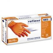 Сверхпрочные резиновые перчатки, нитриловые, оранж, Reflexx N85-XL. 8,4 гр. Толщина 0,15-0,2 мм.